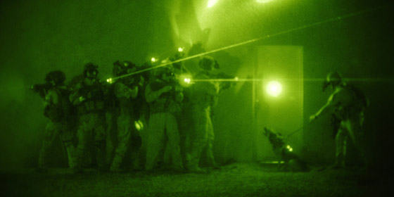 Soldiers viewed with night vision goggles